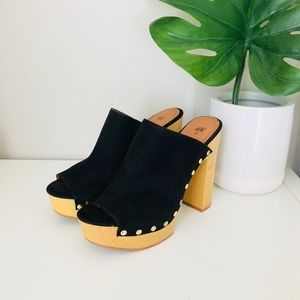H&M wooden studded peep toe clogs